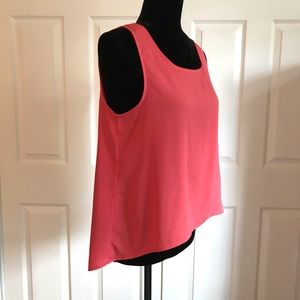 Coral Sleeveless HiLo Top with Zip back Detail